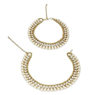 Fashion Jewelry Indian Wedding Bridal Gold Plated Ethnic Rhinestone Pearl Payal Anklets Jewelry