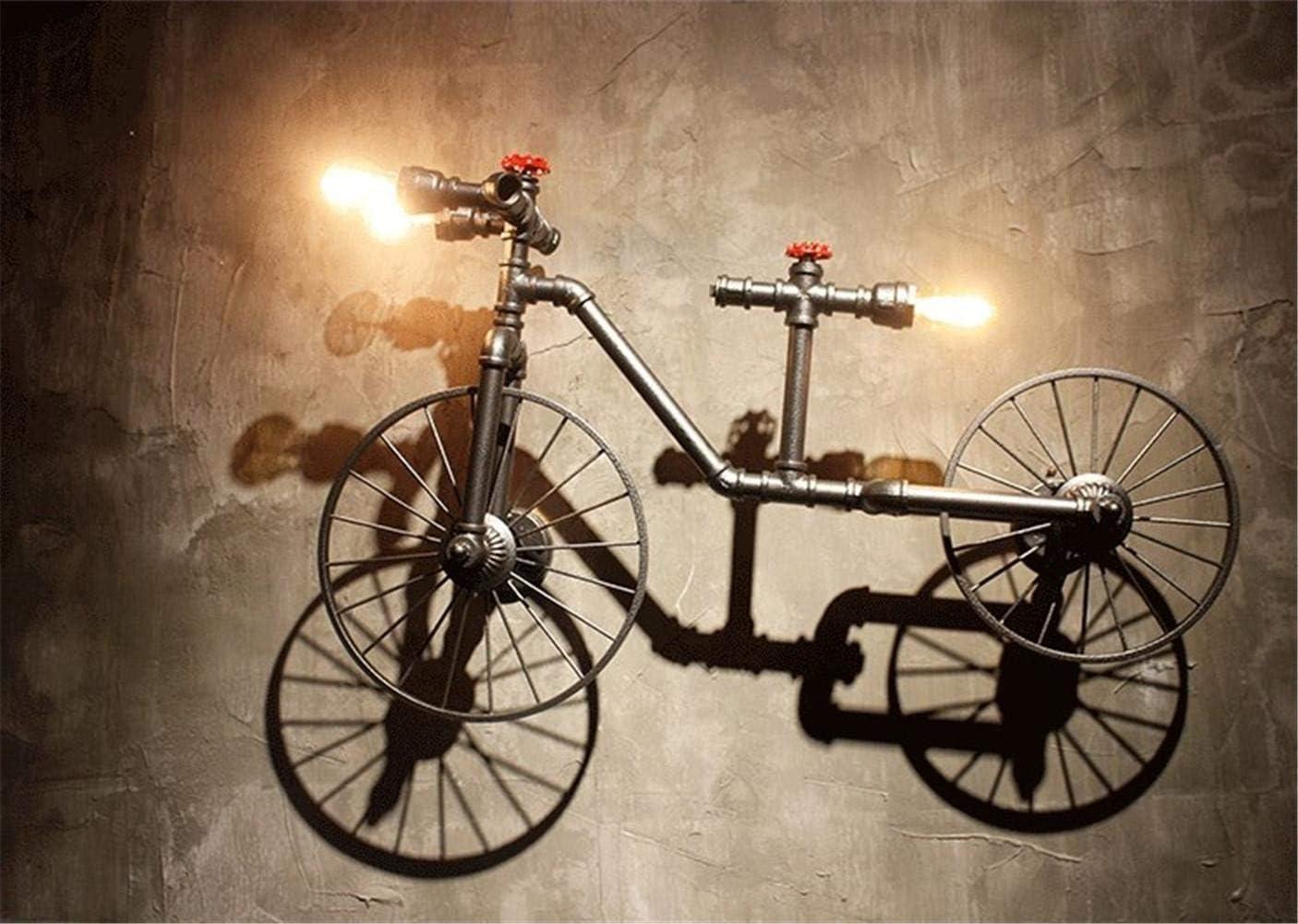 HDMY Industria bicicleta gran lámpara de pared Vintage Steampunk tubería de agua luz americana American bicicleta grande pared lámpara de pared aplique: Amazon.es: Hogar