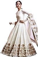 Edeal Online Designer White Silk Embroidery Anarkali Dress