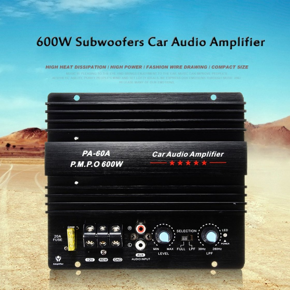 Amplificador de Audio para automóvil de Alta Potencia 12V Mono 600W Amplificador de subwoofers de bajo Poder PA-60A para Dibujo de Alambre de Moda con ...