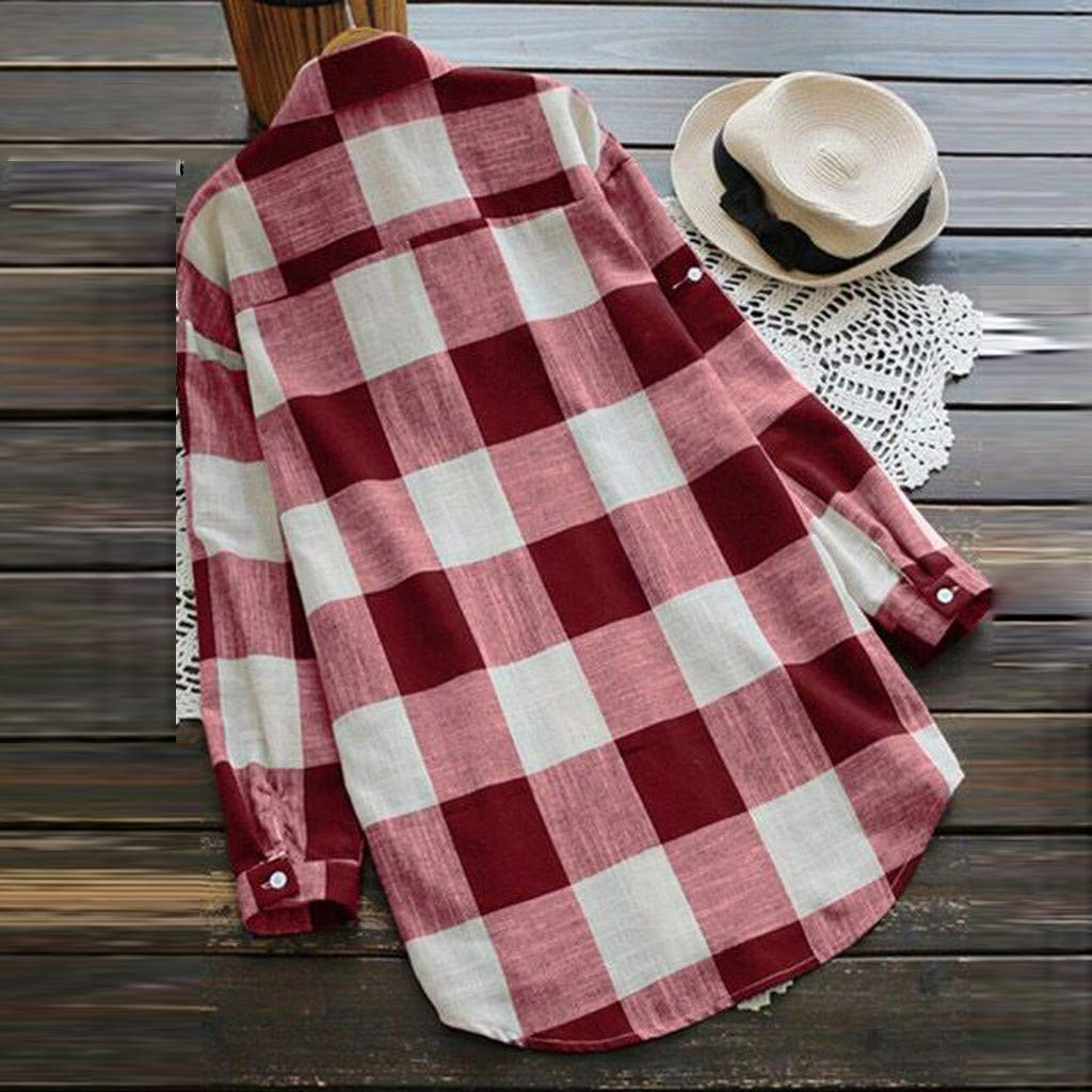 KYLEON Women Shirts O-Neck Lattice Print Long Sleeve Buttons Ladies Casual Blouse Summer Tank Tunics Vest Camis Tops Red by KYLEON (Image #3)