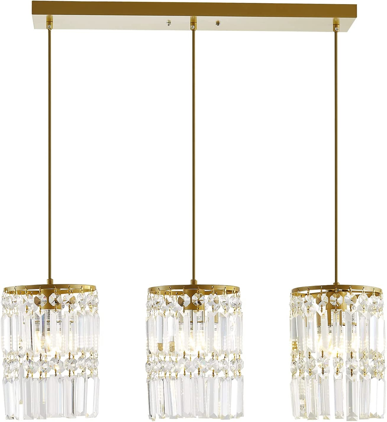 3 Light Pendant Lighting Modern Gold Crystal Ceiling Pendant Lighting, Mini Crystal Chandeliers,Adjustable Pendant Light Fixture for Kitchen Island Dinning Room Bedroom