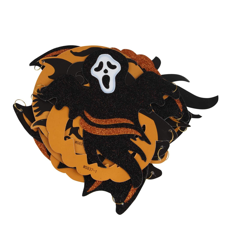 double face suspendus banni/ère de d/écoration Halloween pour d/écoration de f/ête dHalloween salon terrasse Halloween guirlande banni/ère avec chauve-souris sorci/ère Ghost Man citrouille 265x21cm
