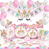 Unicorn Party Supplies Serve 16 Plates Happy Birthday Banner Backdrop Balloons Hats Table Cloth 176 PCs Unicorn Birthday Party Supplies