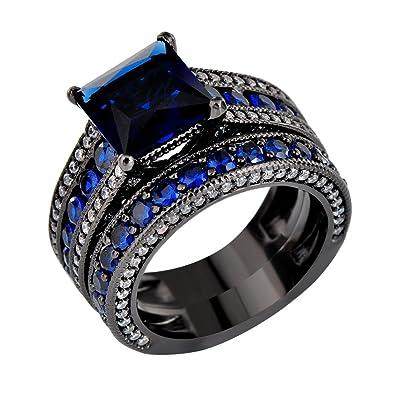 c2390bb8c18 JunXin Two Pieces Black Gold Bridal Wedding Set Princess Cut Sapphire Blue  Main Stone Size5