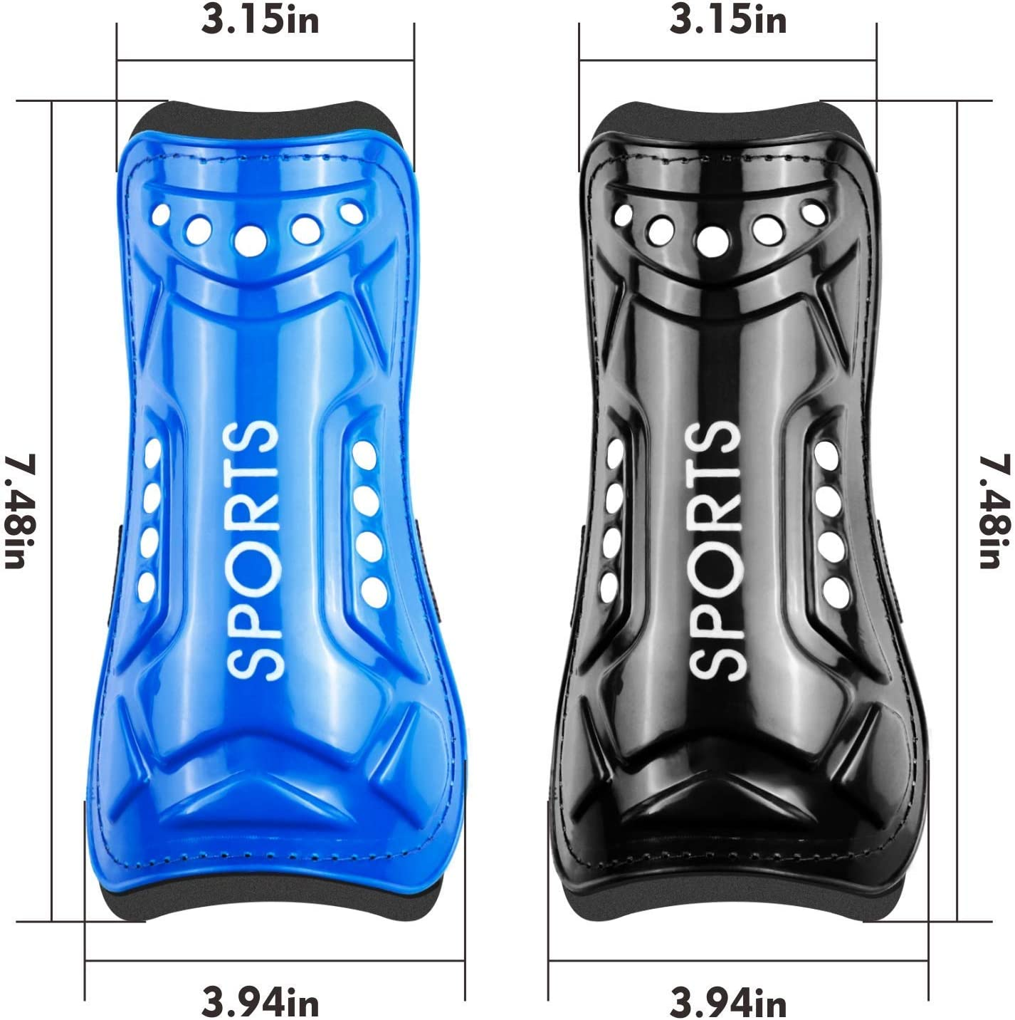 Shin Guards for Kids Youth Soccer Shin Guards 2 Pair Lightweight and Breathable Children's Calf Protectors for 3-10 Years Old Boys Girls Toddler Kids Teenagers (Black & Blue) : Sports & Outdoors