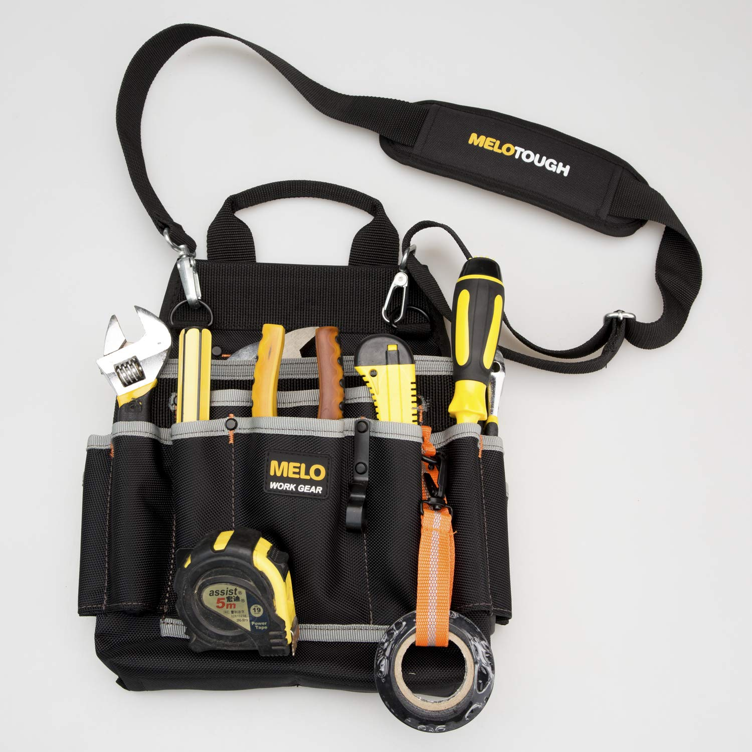 Melo Tough Professional Tool Pouch Shoulder Tool Carrier with Multiple Pockets, Tool Organizer for Technician/maintenance and Electrician's Tools by Melo Tough
