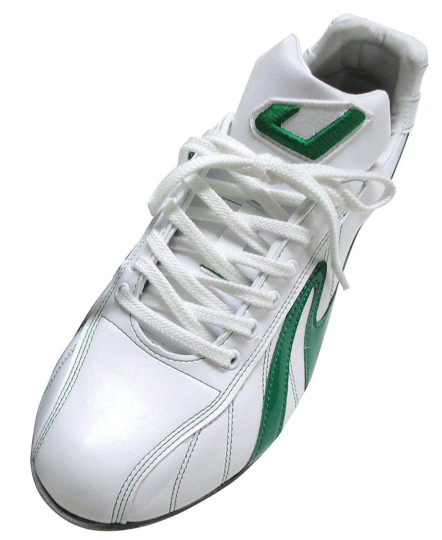 野球 スパイク ローカット 野手用 レザーソールスパイク 金具交換式 ステッチラインマーク:グリーン(緑) B019RO9OZQ 27.0cm