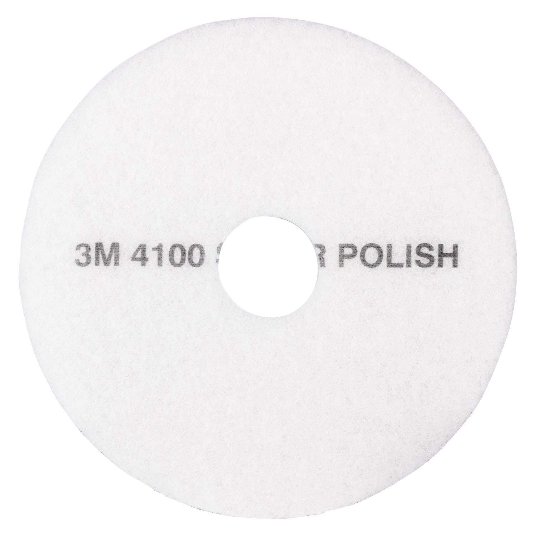 "3M White Super Polish Pad 4100, 20"" Floor Pad, Machine Use (Case of 5)"