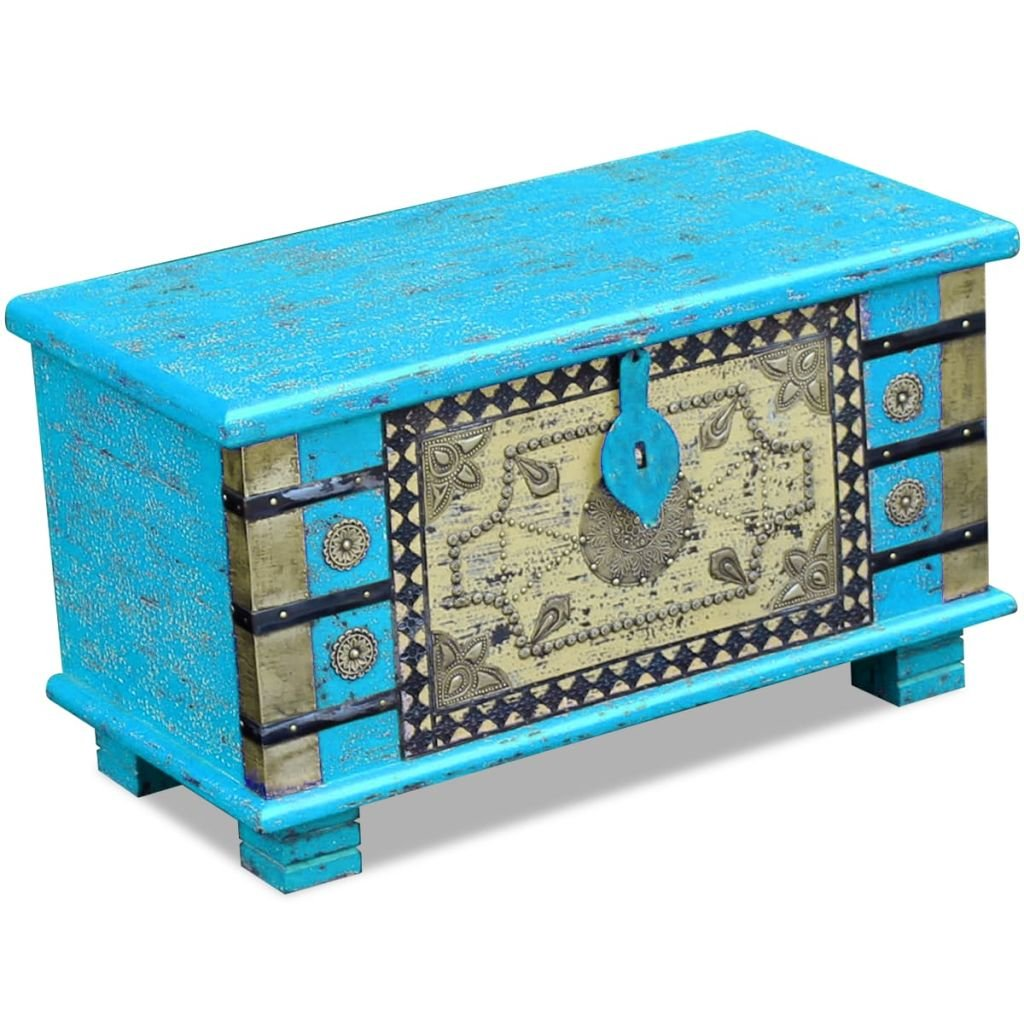 SENLUOWX cassapanca Blu Legno di Mango 80x 40x 45cm
