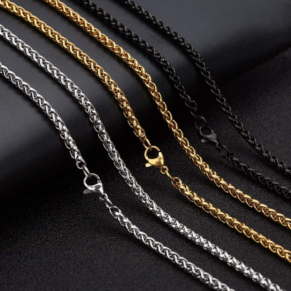 Laliva 60cm Gold Black Color Stainless Steel Basket Chains Necklace with Lobster Clasp Chain for Pendant Jewelry Makings Men Color: Silver