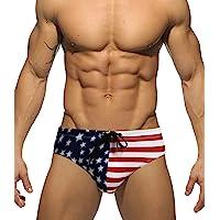 Minaso Men's Ployester Camo Swimsuit Bikni Briefs with Adjustable Drawstrig