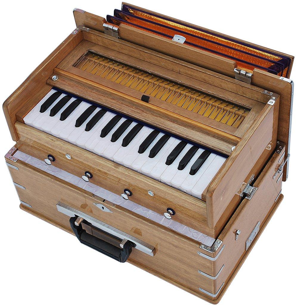 Safri Harmonium- 2¾ Octave By Kaayna Musicals-Portable, Traveler, Baja, 4 Stops (2 Drone), Two Set Reed- Bass/Male, Teak Color, Gig Bag, Tuning: 440 Hz, Suitable for Yoga, Bhajan, Kirtan, Mantra, etc by Kaayna Musicals (Image #5)