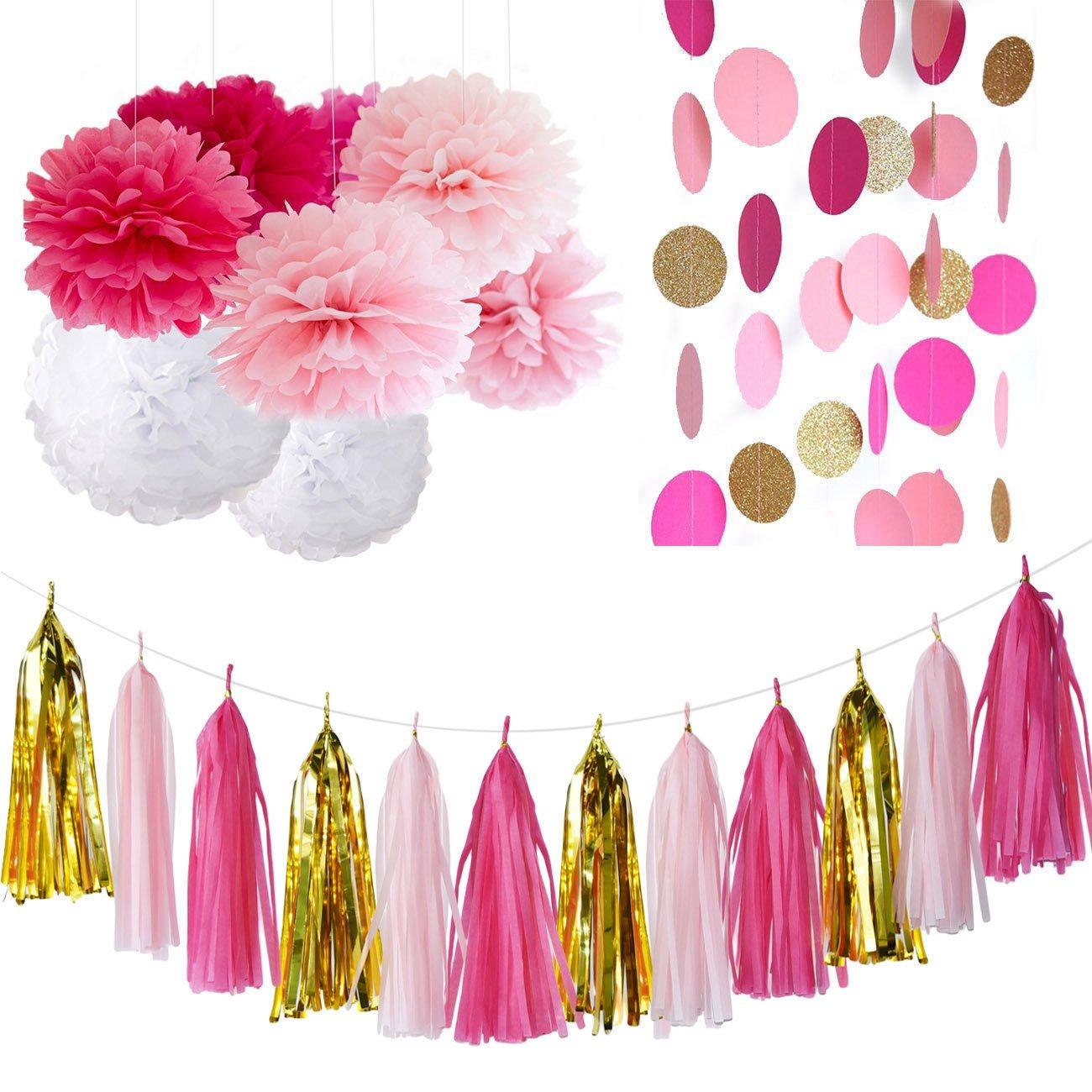 Amazon.com: Bachelorette Party Decorations Fuchsia Pink Gold Bridal ...