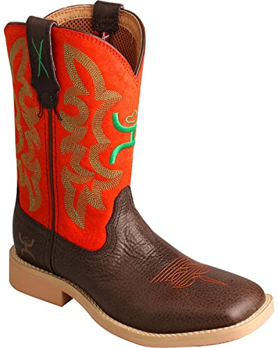 Twisted X Boys and Green Hooey Cowboy Boot Square Toe Chocolate 1 D(M