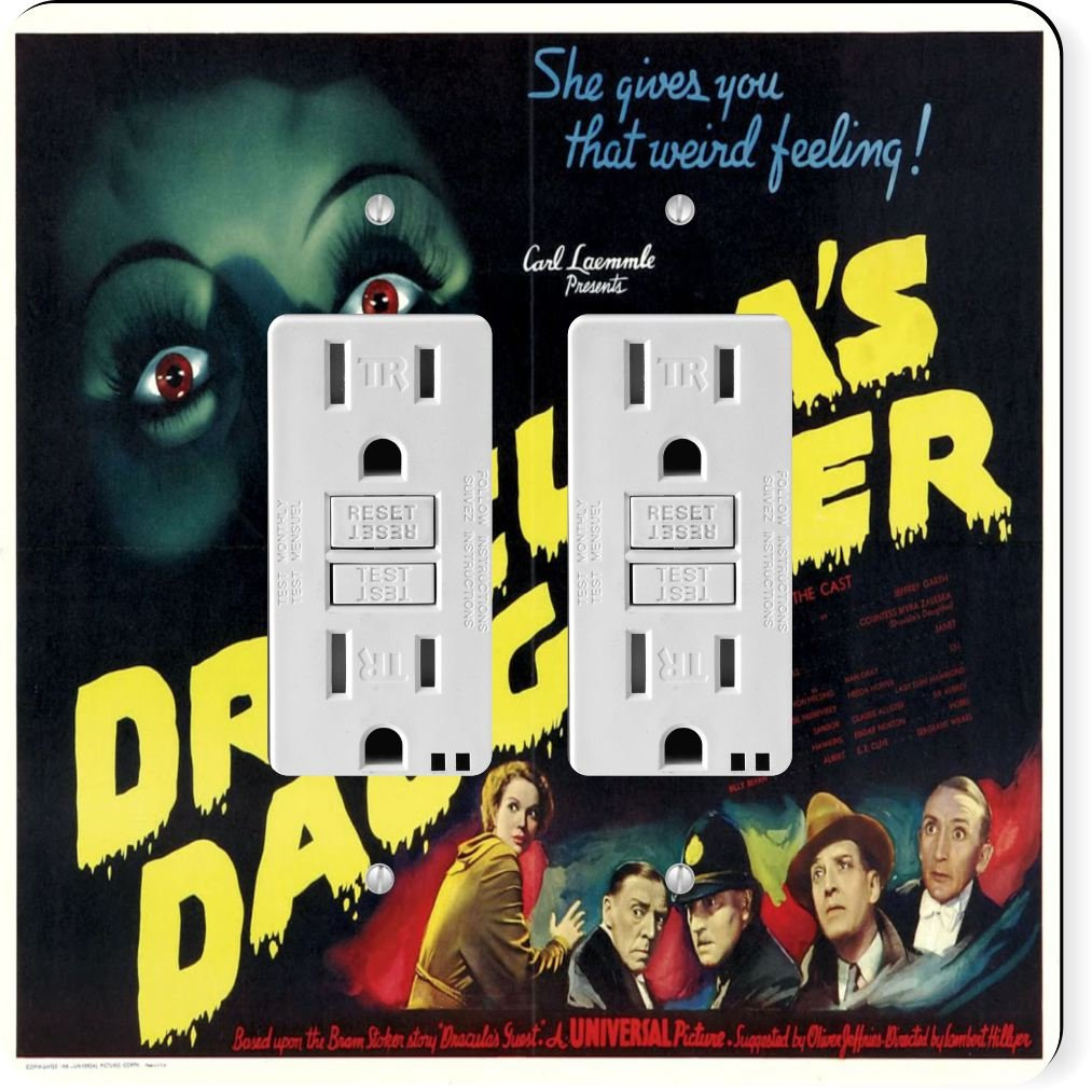 Rikki Knight 3708 Gfidouble Vintage Movie Posters Art Dracula's Daughter 5 Design Light Switch Plate