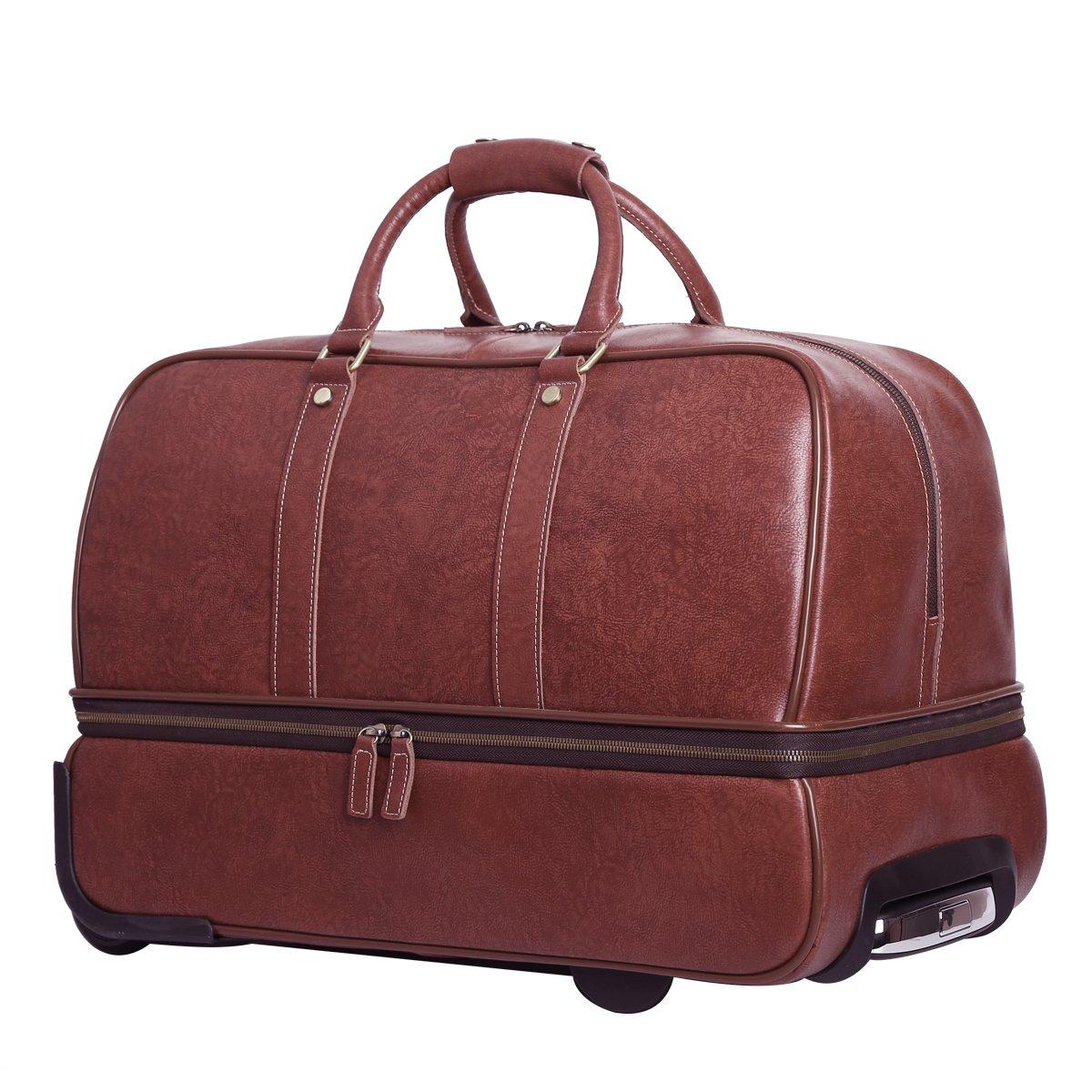 Leathario Leather Luggage travel duffle bag weekend overnight bag (Burgendy) by Leathario (Image #2)