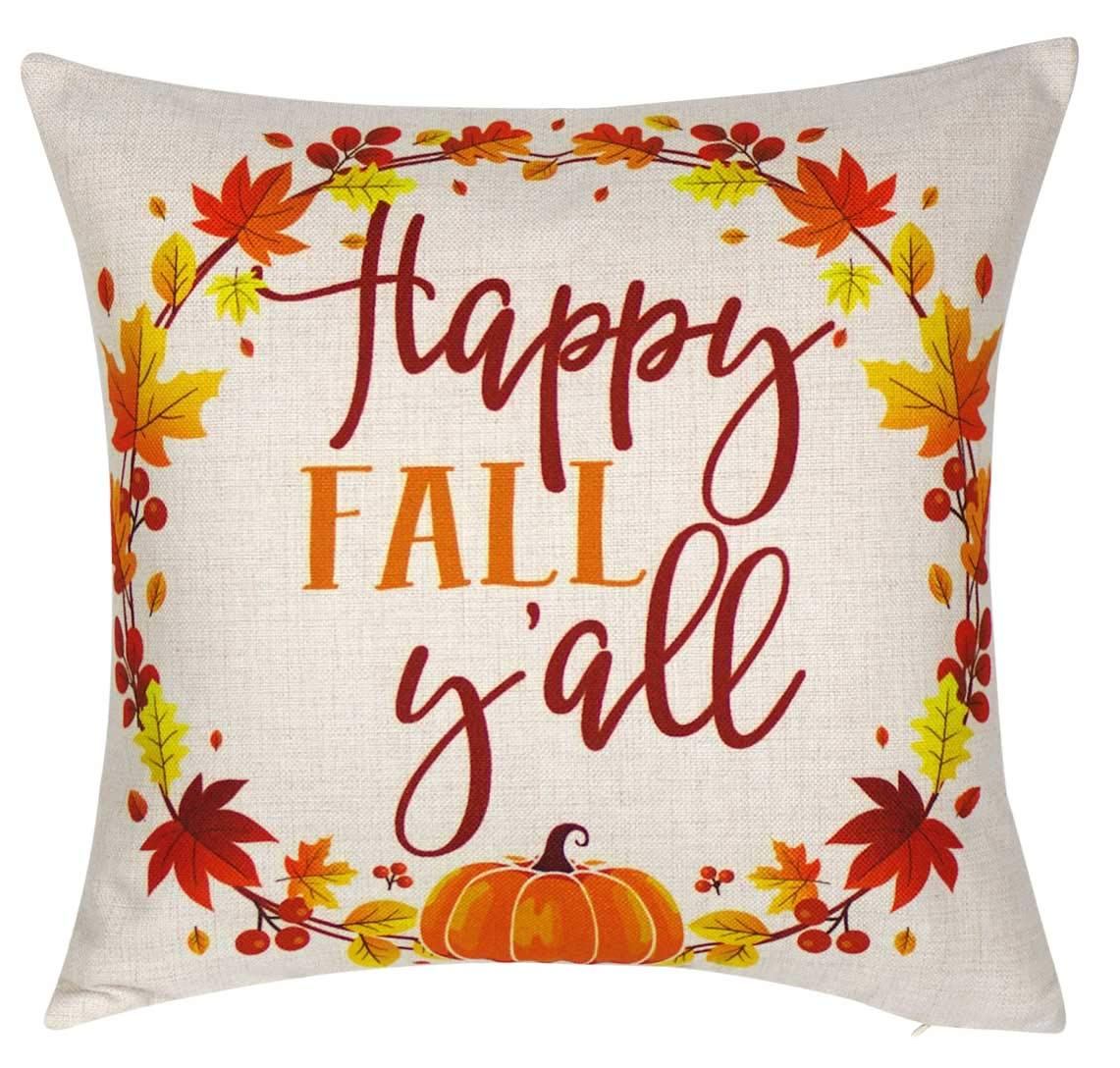 DECOPOW Happy Fall Yall Throw Pillow Cover Decorative Throw Pillow Cover 18 X18