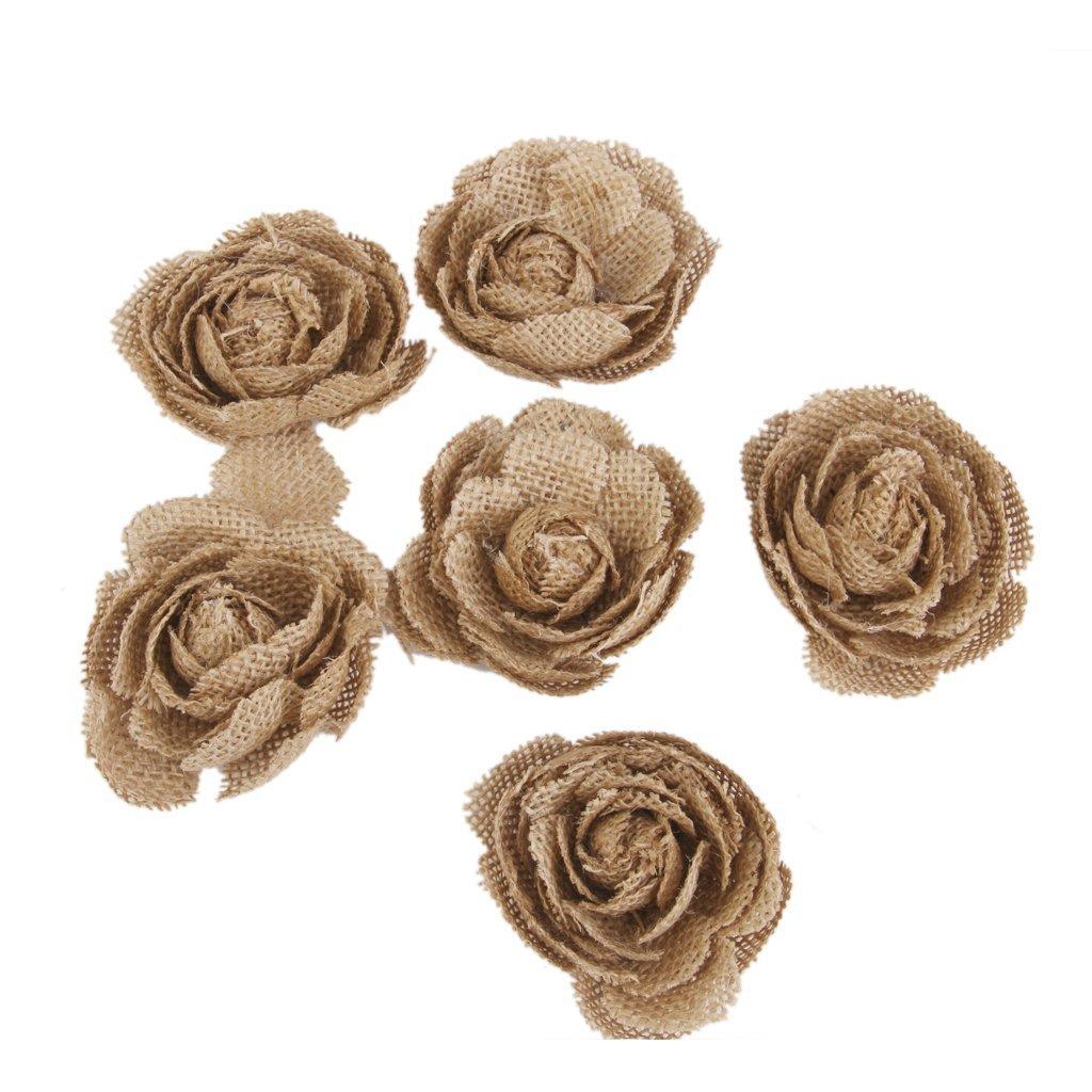 Romote Fiori Rose iuta dell'Assia del matrimonio rustico artigianato Particolare 7 centimetri cor