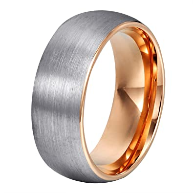 will queen domed matte tungsten wedding bands rose gold interior anniversary rings for men comfort - Tungsten Wedding Ring