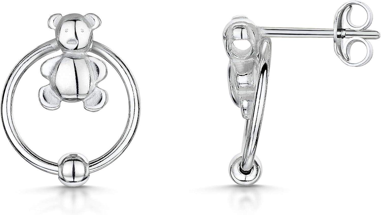 Amberta 925 Plata De Ley – Par de Estilo Elegante Fino Joyería – Pendientes De Tipo Aretes