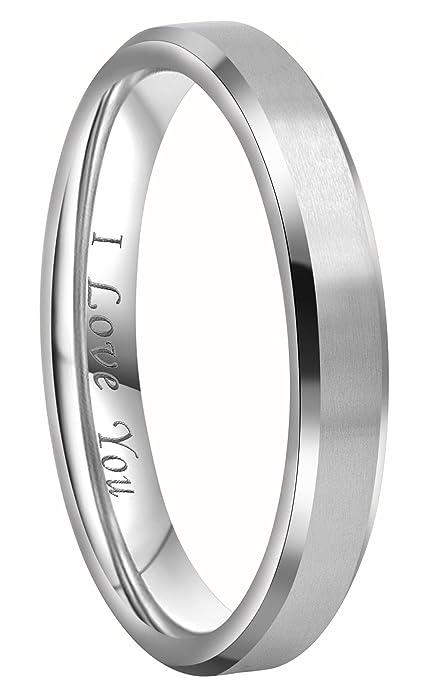 Crownal 4mm 6mm 8mm Titanium Wedding Couple Bands Rings Men Women