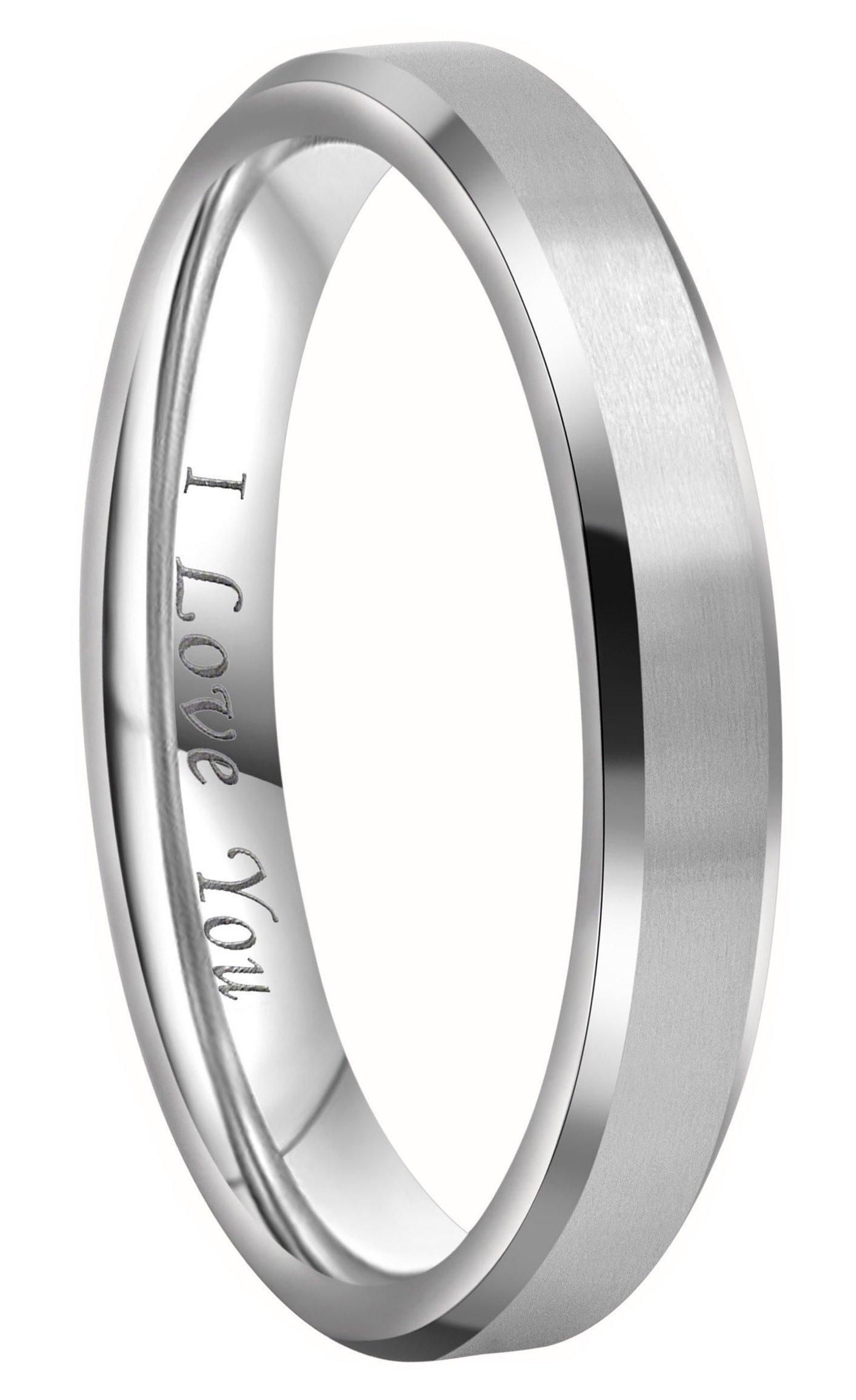 Crownal 4mm 6mm 8mm Titanium Wedding Couple Bands Rings Men Women Matte Brush Center Beveled Edges Engraved ''I Love You'' Comfort Fit Size 4 To 16 (4mm,5)