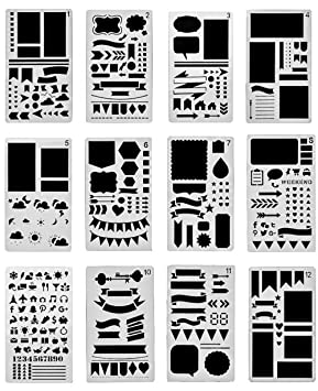 Kalttoy Zeichenschablonen f/ür Bullet Tagebuch Tagebuch Schablone Kunststoff Zeichnung Skala Malen Multifunktionale Zeichnung Lineal f/ür Bullet Journal Scrapbooking Karten und DIY Craft Projekte