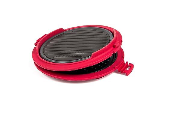 B.Bad 70120 - Grill para microondas redondo, color negro y rojo