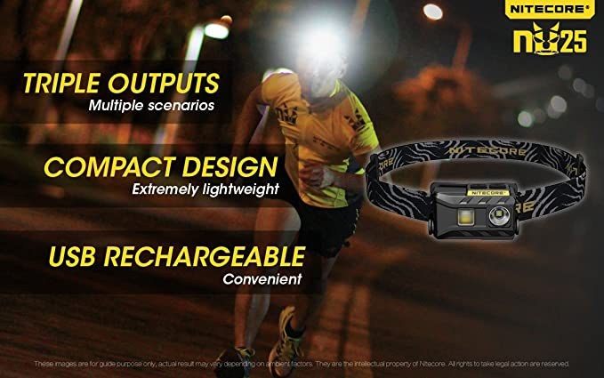 NITECORE NU25 360 - Tactical USB Rechargeable Headlamp - Lumen Triple Output - Includes 1 Lightjunction USB Car Adapter and 1 Lightjunction USB Wall Adapter ...