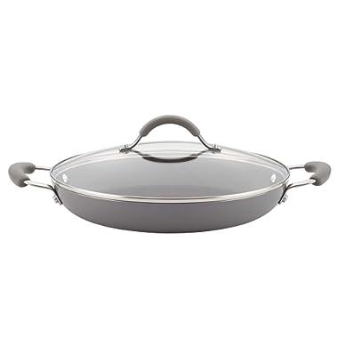 Rachael Ray 16804 Cucina Porcelain Aluminum Everything Pan, Small, Sea Salt Gray