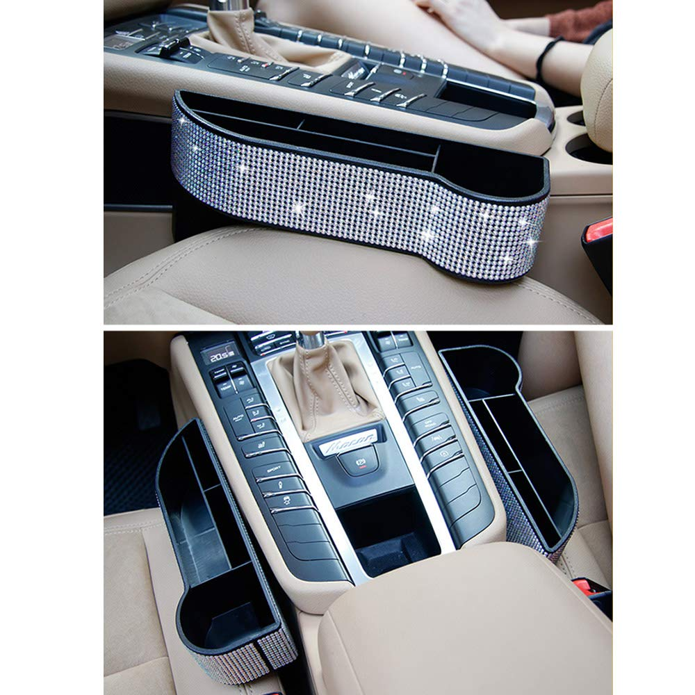 Aristocracy with Bling Matrix Diamond Console Mobile Phone Cards Coin Money Beverage and Cup Holder Exquisite Car Front Seat Organizer Seat Side Storage Box Gap Filler for Ms