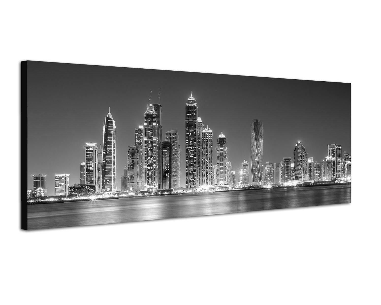 Augenblicke Wandbilder Keilrahmenbild Panoramabild SCHWARZ/Weiss 150x50cm Dubai Skyline Wasser Nacht Lichter