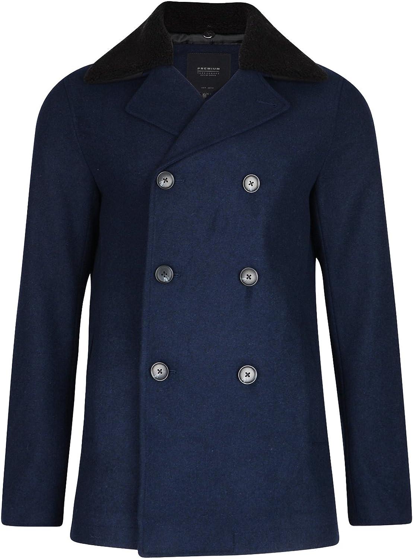 Threadbare Mens Notting Hill Wool Detachable Collar Coat