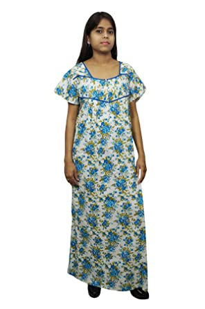 Indiatrendzs Women Maxi Nightgown Printed Long Bedroom Dress (Blue White)   Amazon.in  Clothing   Accessories dfb5fcdeb