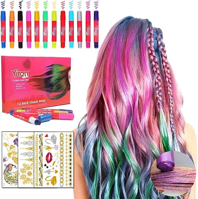 HONGCI 12 Plumas de Colores Brillo Temporal de Plumas de Tiza para el Cabello+3 Tatuaje Temporal metálico,para Disfraces,Rendimiento,Halloween, ...