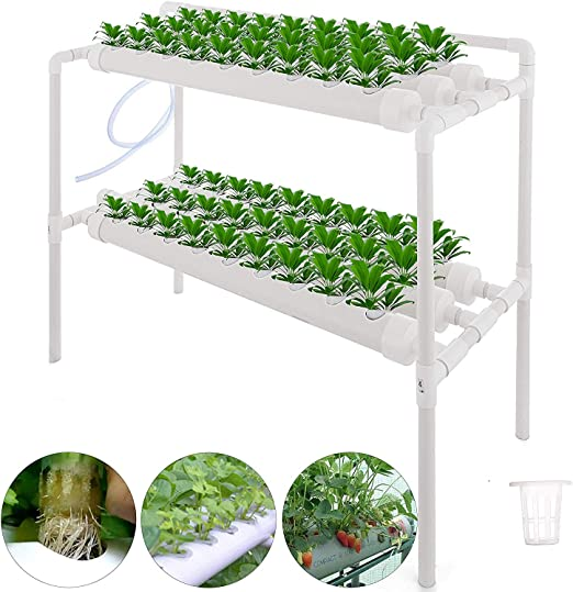 TOPQSC 2 Capas 72 Sitios 8 Tubería Kit de Cultivo Hidropónico NFT ...