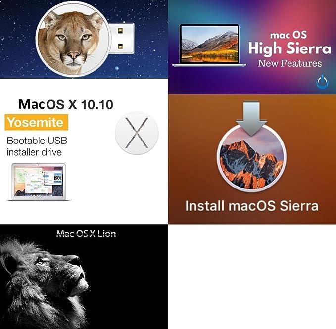 Mac OS X Lion + mac OS X Mountain Lion + MacOs High sierra +