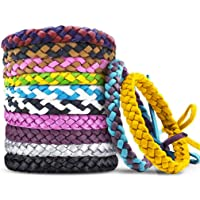 12 Pack Mosquito Repellent Bracelets, Individually Wrapped PU Leather Insect & Bug Repellent Wrist Bands for Kids…