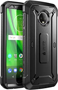SupCase Full-Body Case for Moto G6, with Built-in Screen Protector Rugged Holster for Moto G6 5.7 Inch (2018 Release), Unicorn Beetle Pro Series -Retail Package (Black)