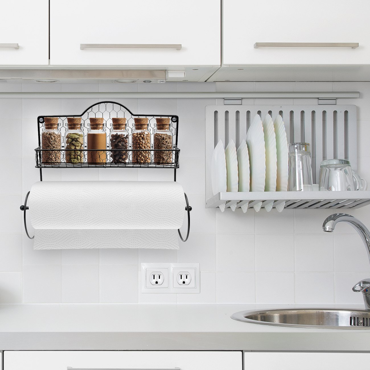 Sorbus Paper Towel Holder, Spice Rack and Multi-Purpose Shelf—Wall Mounted Storage for Kitchen Accessories, Towels, Toiletries, Supplies, etc.—Ideal for Kitchen/Bathroom—Made of Steel (Black) by Sorbus (Image #6)