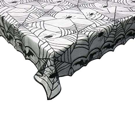 Halloween Lace Tablecloth 60 X 84 Oblong Black Spider Webs Spiders Mantle Decor