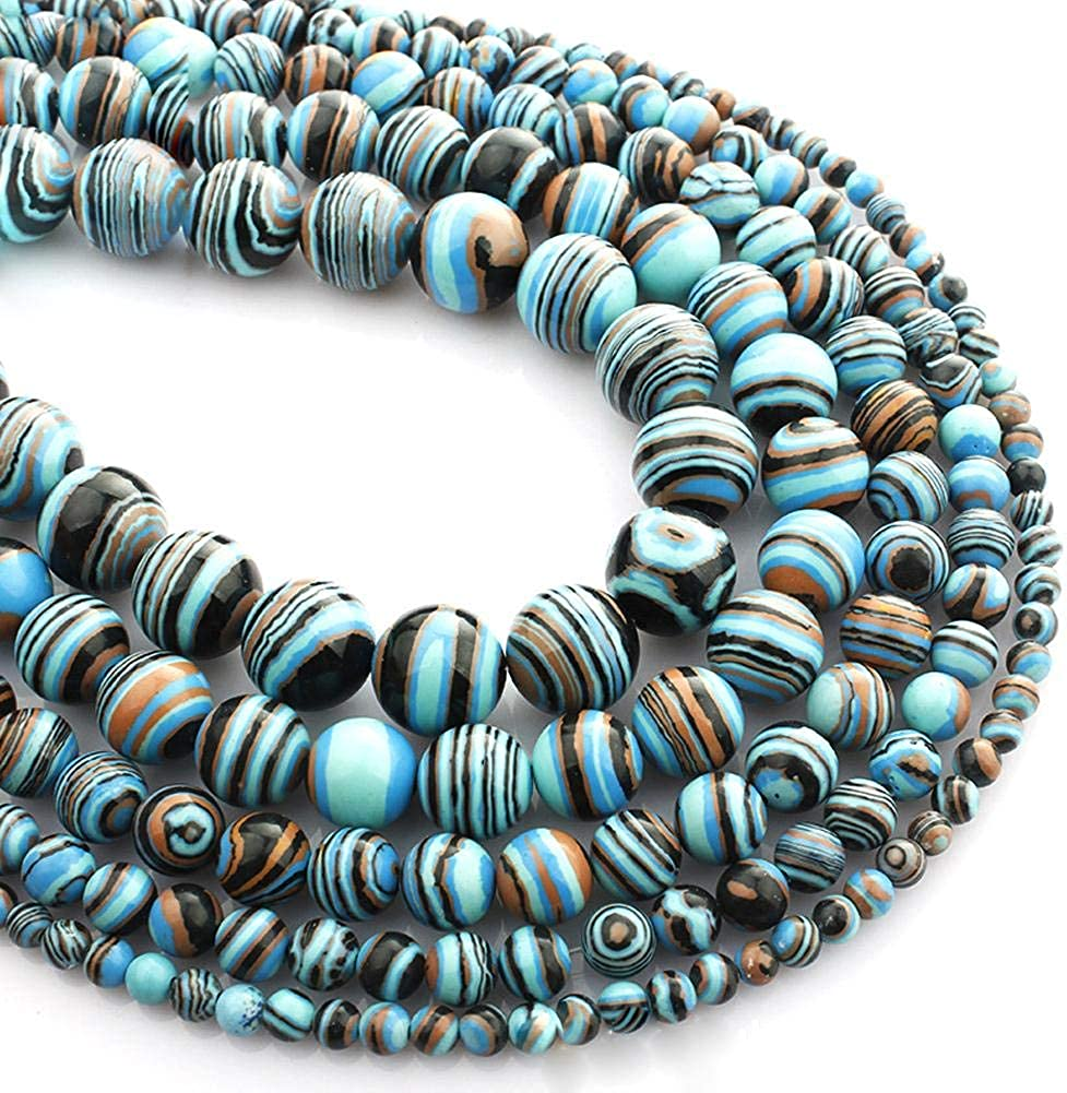 Febelle - Cuentas sueltas de malaquita azul natural para hacer joyas y manualidades