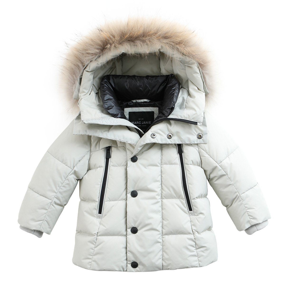 marc janie Baby Boys Kids' Lightweight Down Jacket With Raccoon Fur Collar Hood Puffer Winter Coat Light Gray White 5T