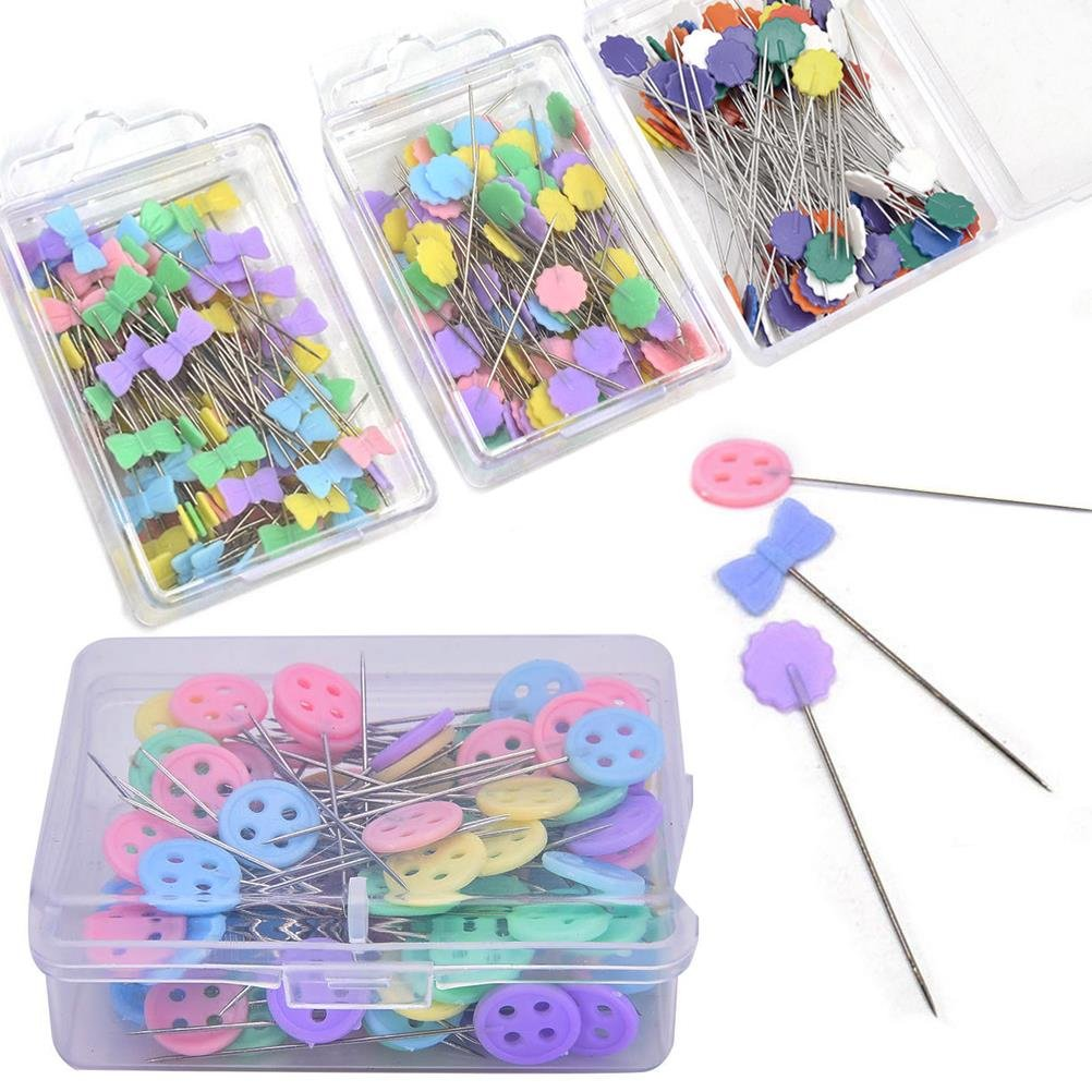 Lwestine 400 Pcs Flat Button &Flower Head Pins,Straight Pins, Quilting Pins with Cases by Lwestine