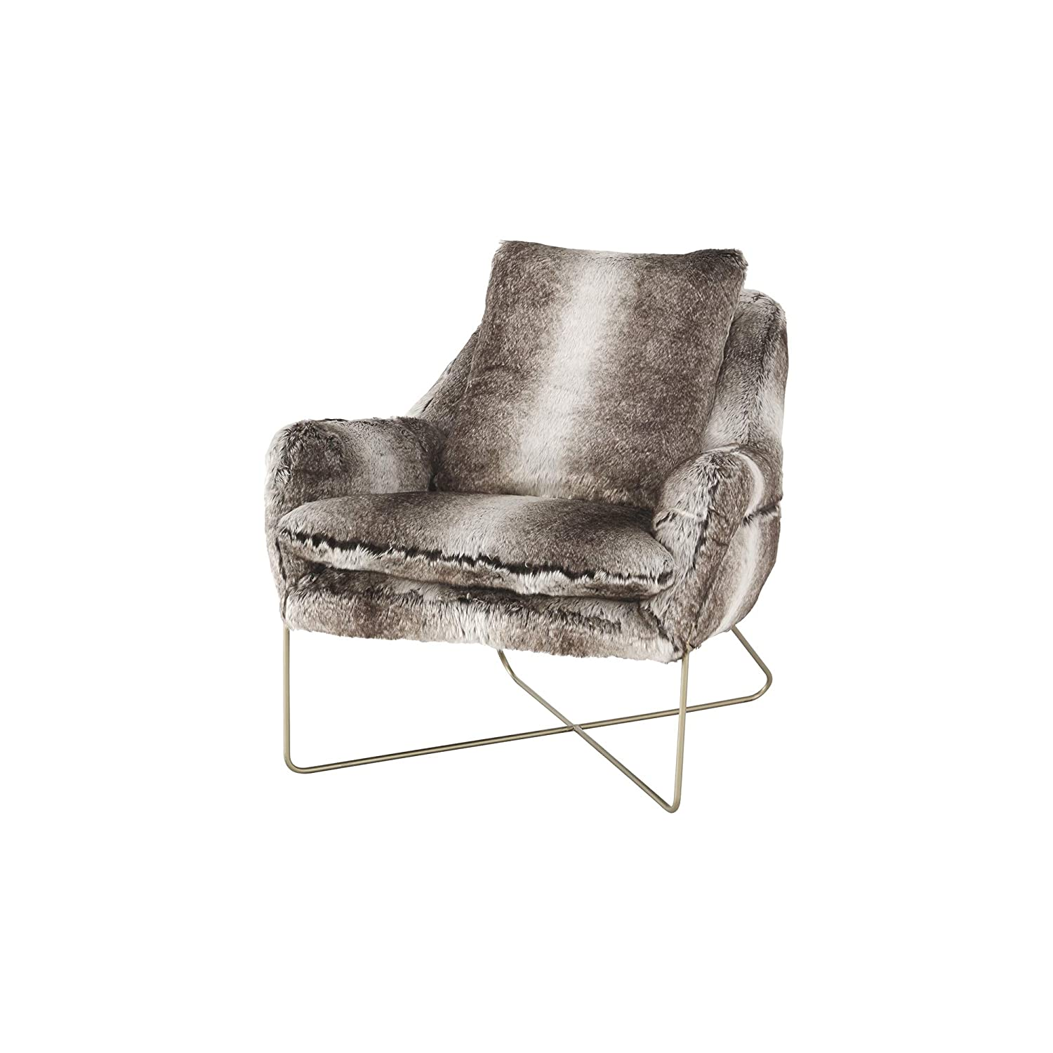 Cool Ashley Furniture Signature Design Wildau Accent Chair Mid Century Modern Faux Fur In Shades Of Gray Gold Metal Frame Gmtry Best Dining Table And Chair Ideas Images Gmtryco