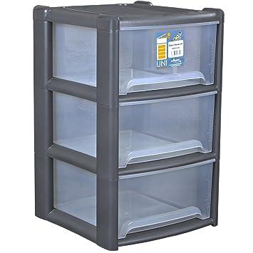 Plástico Estante 39 x 65 cm Con 3 cajas apto para alimentos en Graphite • cajón estante cajones caja plástico Estante Cajas apilables estantes: Amazon.es: ...