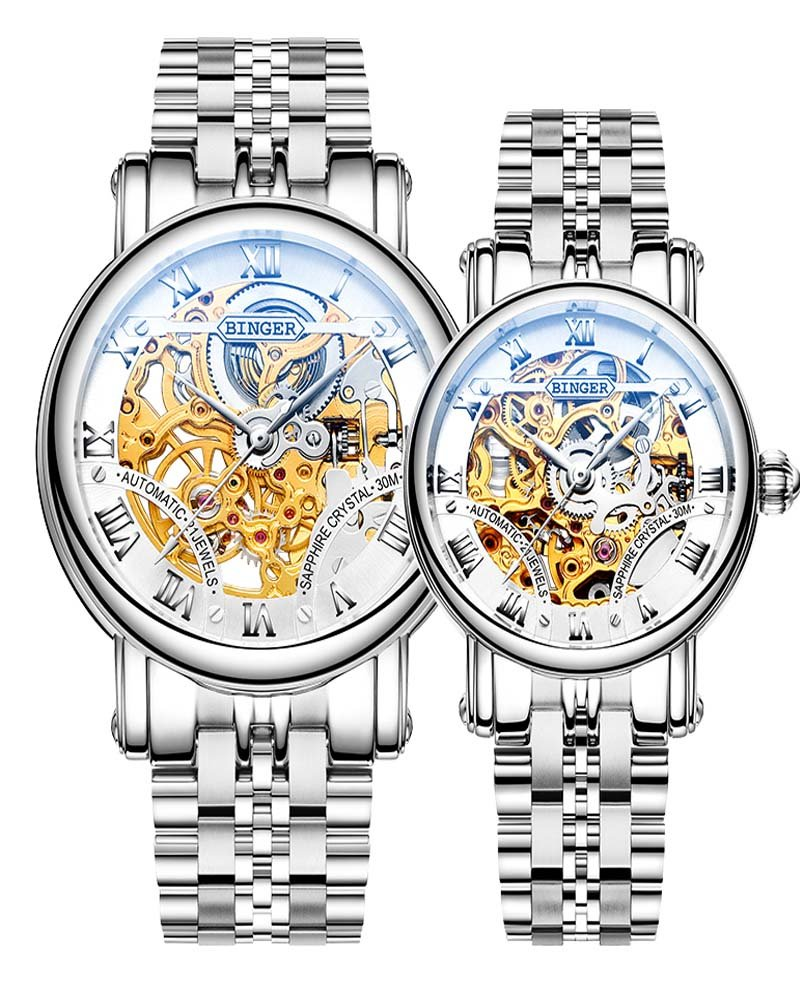 Binger Couple Watches Mechanical Skeleton Stainless Steel Watch for her or his (White)