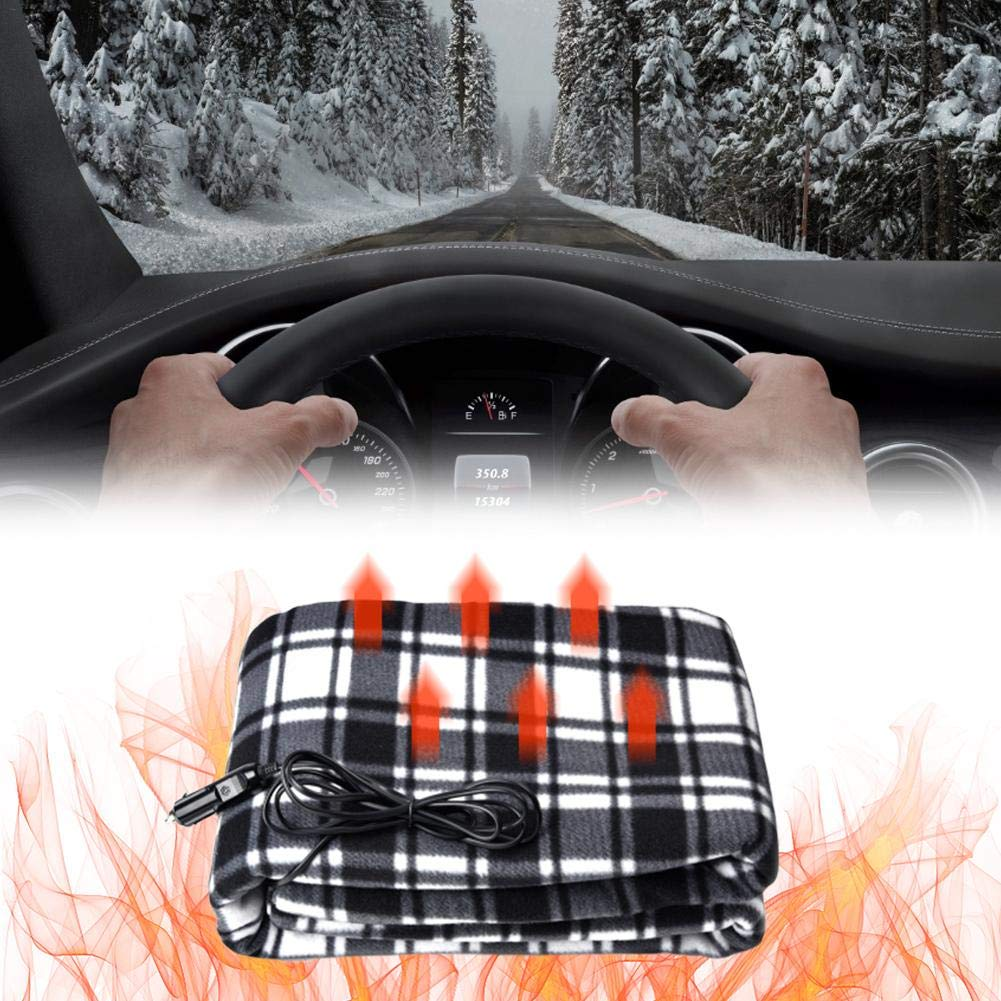 cheerfullus Car Lattice Fleece Heated Blanket,12V Electric Heating Blanket,Winter Car Constant Temperature Heating Blanket for Travel Camping Picnic,150x100CM,Black and White Striped by cheerfullus