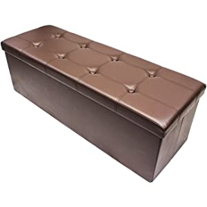 Sorbus Storage Bench Chest – Collapsible/Folding Bench Ottoman with Cover – Perfect Hope Chest, Pouffe Ottoman, Coffee Table, Seat, Foot Rest, and More – Contemporary Faux Leather, Large (Chocolate)